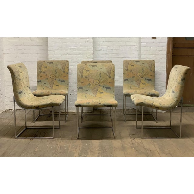 Silver Set of Six Milo Baughman Scoop Chrome Dining Chairs For Sale - Image 8 of 8