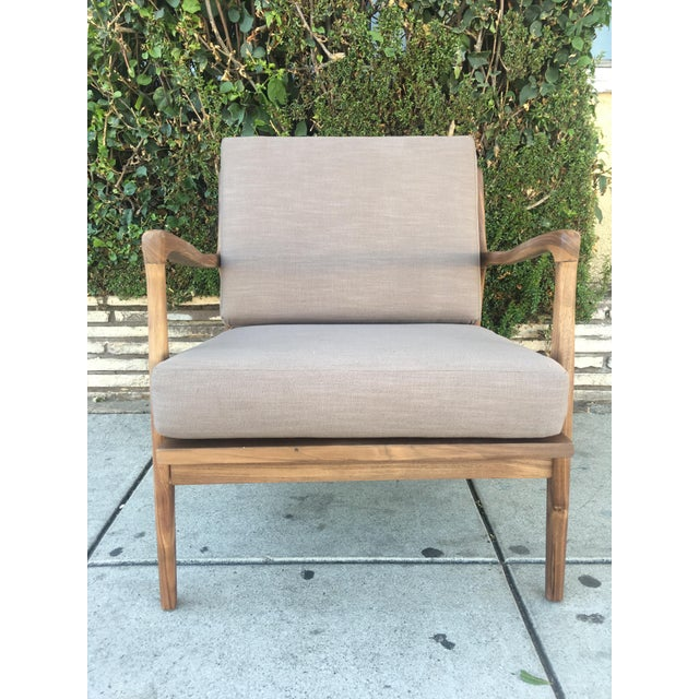 Not Yet Made - Made To Order Custom Walnut Lounge Chair in Soft Taupe Gray For Sale - Image 5 of 13
