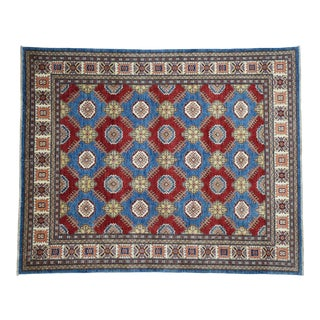 Hand Knotted Wool Kazak Tribal Design Rug- 7′10″ × 9′7″ For Sale