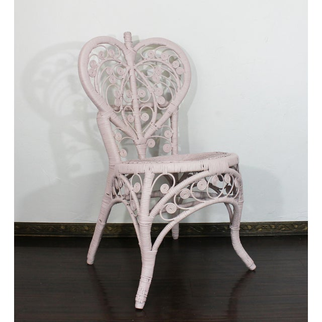 Boho Chic Pink Victorian Curlicue Wicker Twin Bedroom Set - 3 Pc. Set For Sale - Image 3 of 6