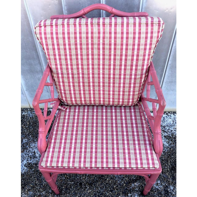 Hot Pink Faux Bamboo Chinese Chippendale Armchairs - Set of 6 For Sale - Image 11 of 13