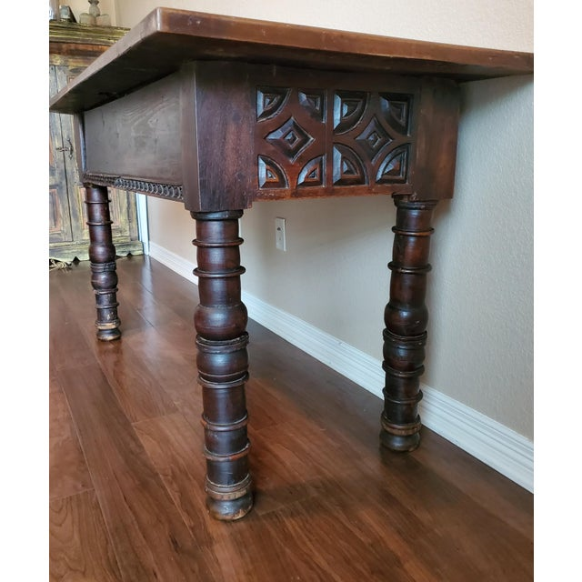 Rustic 18th Century Spanish Baroque Period Carved Walnut Table For Sale - Image 10 of 12