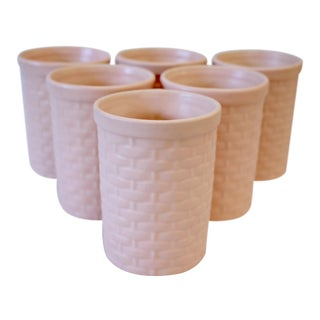 Peach Basketweave Pottery Tumblers - Set of 6 For Sale