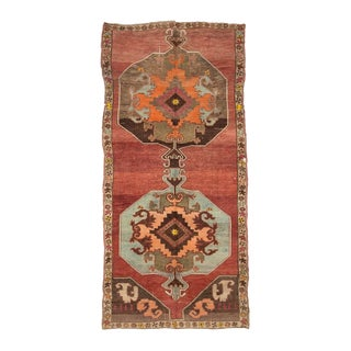 Vintage One of a Kind Turrkish Wool Rug- 5′8″ × 12′1″ For Sale