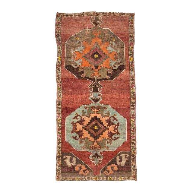 Vintage One of a Kind Turrkish Wool Rug- 5′8″ × 12′1″ For Sale