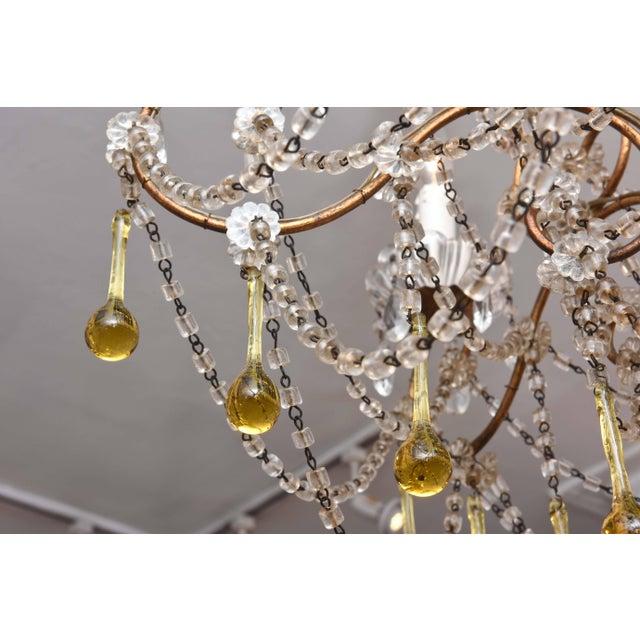 Vintage Venetian Glass and Gilt Metal Chandelier For Sale - Image 4 of 10