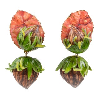Francoise Montague Paris Clip on Earrings Resin Talosel Hazelnut and Leaf For Sale