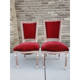 Antique French Louis XVI Upholstered Side Chairs-A Pair Preview