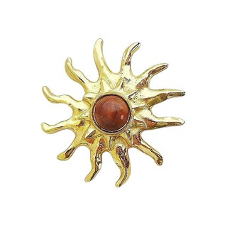 Edouard Rambaud Paris Wood Cabochon Brooch For Sale