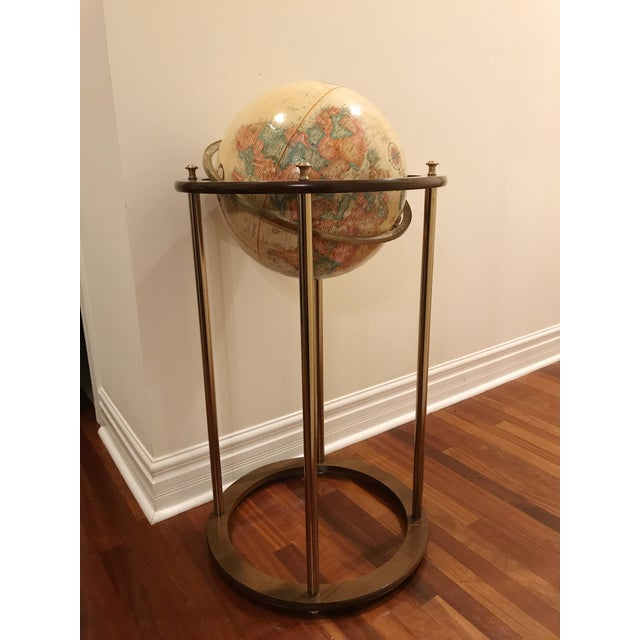 Vintage Replogle Brass and Wood World Globe on Stand For Sale - Image 9 of 9