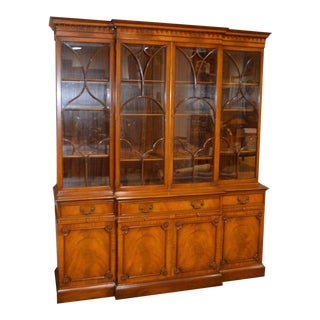 Regency Style Carved & Inlaid China Cabinet