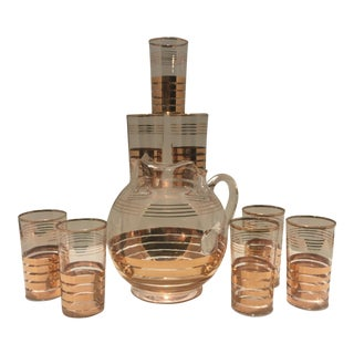 Mid-Century 22k Gold Striped Glasses and Pitcher - Set of 8 For Sale