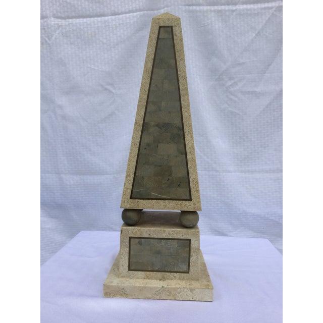 Maitland Smith Tessellated Stone Obelisk - Image 3 of 8