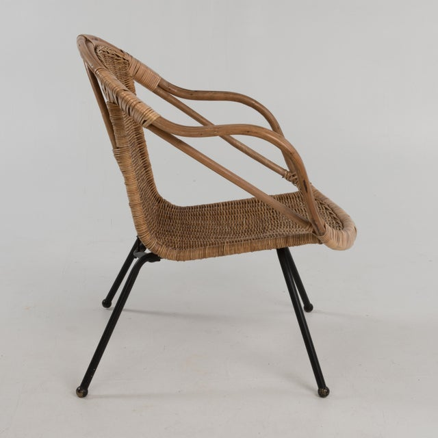 Mid Century Boho Bamboo Rattan Hoop Chair For Sale - Image 4 of 13