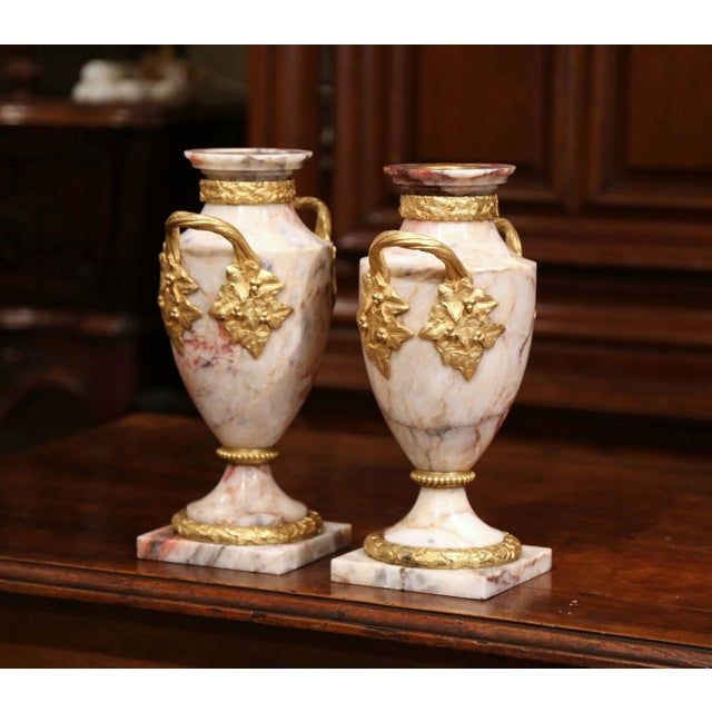 Mid 19th Century Pair of 19th Century French Beige Marble and Bronze Dore Cassolettes Vases For Sale - Image 5 of 7
