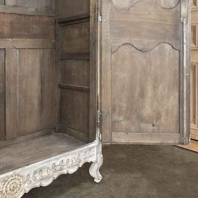 19th Century Country French Provincial Whitewashed Armoire For Sale - Image 11 of 13