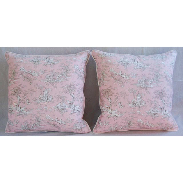Designer French Pink Toile & Velvet Feather/Down Pillows - Pair - Image 7 of 11