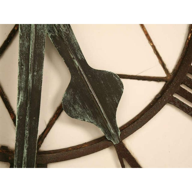 Circa 1860 Cast Iron English Clock Face With Copper Hands For Sale - Image 5 of 11