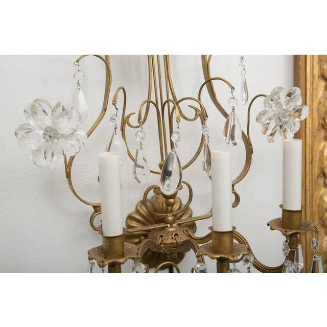 Pair of Italian Gilt Metal and Crystal Electrified Sconces For Sale - Image 4 of 9