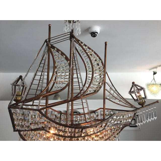 Spanish Galleon Ship Crystal Chandelier, Italy 1990s For Sale In West Palm - Image 6 of 13