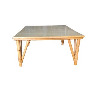 Large Square Rattan Coffee Table With Formica Top For Sale