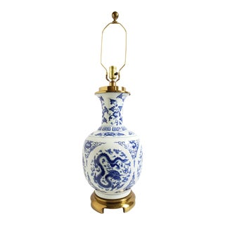 Vintage Asian Style Blue &White Porcelain Lamp For Sale