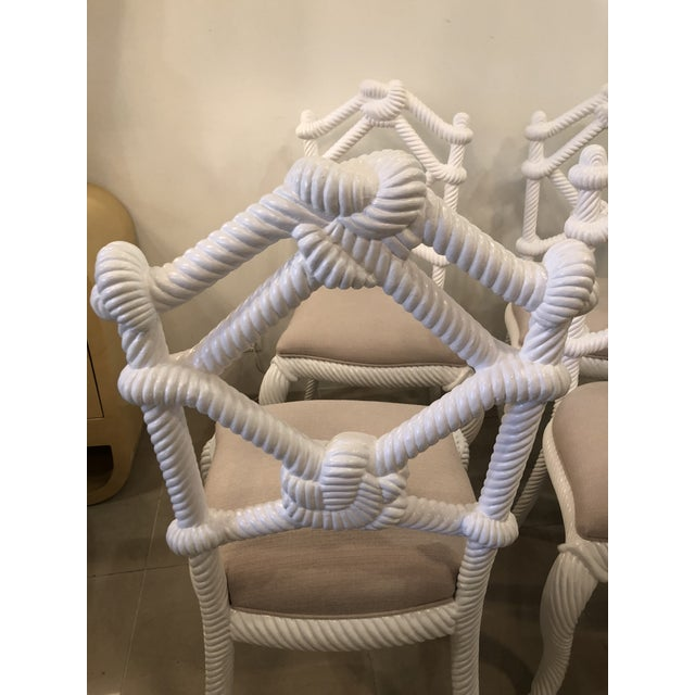 Lacquer Vintage Nautical White Lacquered Wood Rope Side Dining Chairs -Set of 4 For Sale - Image 7 of 10