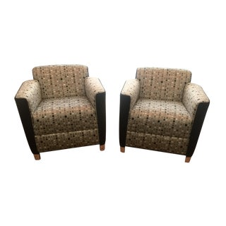 Bernhardt Silk Upholstered Club Chairs - a Pair For Sale