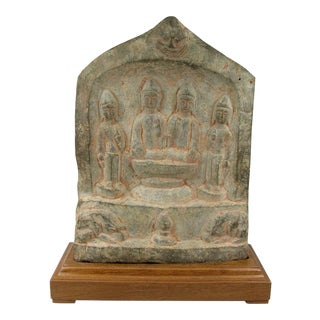 Chinese Tang Dynasty Carved Buddhist Stele With Inscription For Sale