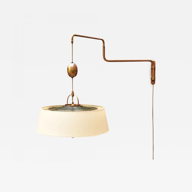 "Gold Amba ""Lyss"" Swing-Arm Wall Lamp, Switzerland, 1940s For Sale - Image 8 of 8"