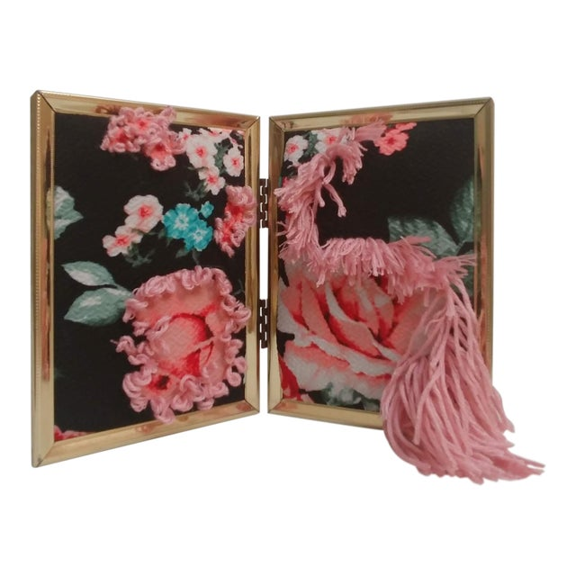 Contemporary Floral Fabric Tapestry in Double Frame For Sale