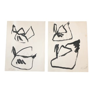Gallery Wall Collection 2 Original Vintage Robert Cooke Abstract Bird Paintings - a Pair For Sale