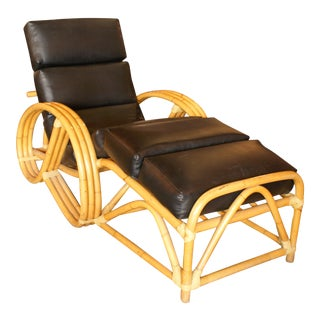 Paul Frankl Style Pretzel Bamboo Reclining Lounge For Sale