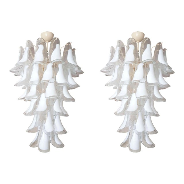 White Mid Century Modern Murano Glass Chandelier, by Mazzega, 1970s- 2 Available For Sale - Image 10 of 10