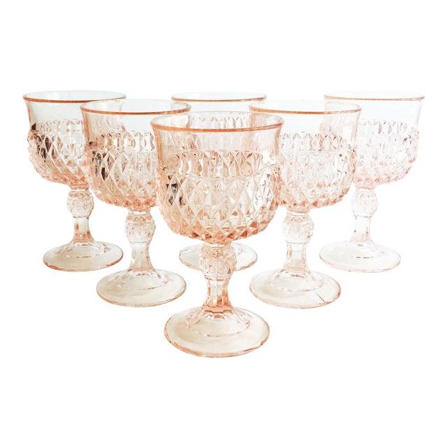 Vintage Blush Pink Wine Glasses - Set of 6 For Sale
