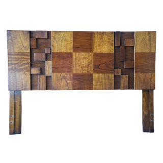 1970s Brutalist Paul Evans for Lane Walnut Queen Full Headboard For Sale