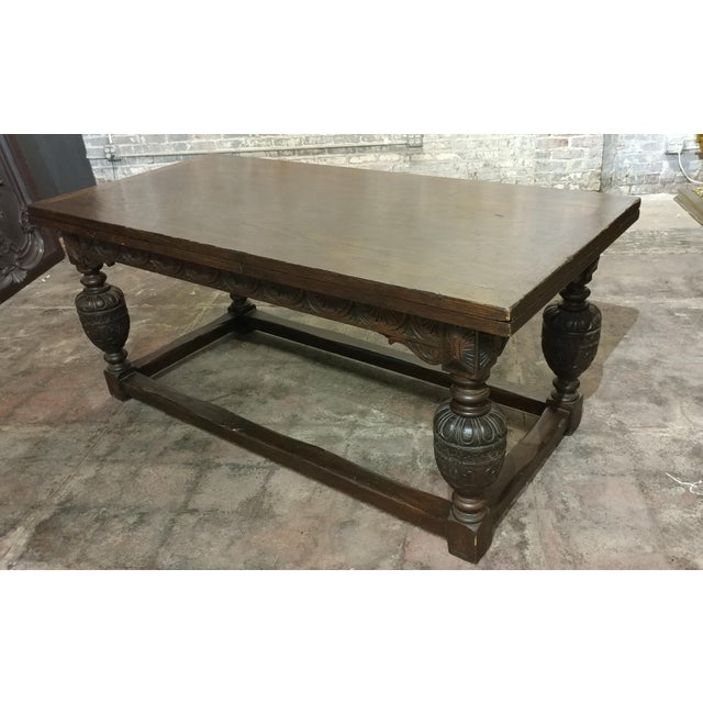 "18th century English Oak Jacobean style Draw Leaf Refectory Table size 71w x 34d x 31""h total extended length of table..."