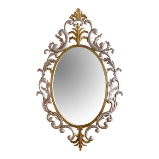 1960's Italian Hollywood Regency Gilt-Tole Oval Wall Mirror by Palladio For Sale