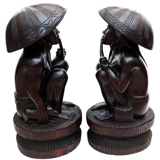 African Large Early 20th C. African Narra Wood Sculptures - a Pair For Sale - Image 3 of 13