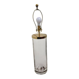 1980s Vintage Modern Chapman Heavy Glass Cylinder Modern Table Lamp For Sale