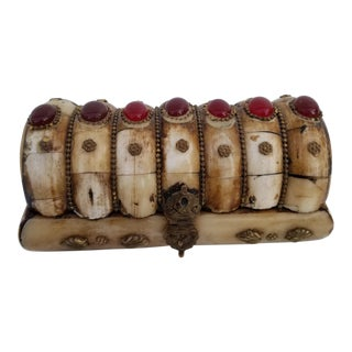 1950s Mid-Century Modern Carved Bone and Brass Trinket Jewelry Box