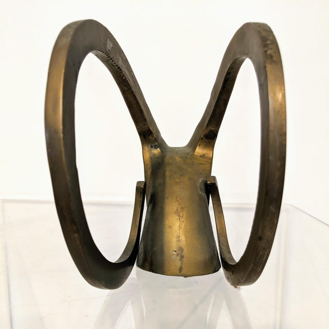 Metal Dara International Mid-Century Modern Brass Ram Bookends - a Pair For Sale - Image 7 of 11