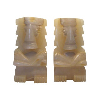 Vintage Pair of Large Aztec Onyx Stone Bookends, Statues or Figures For Sale