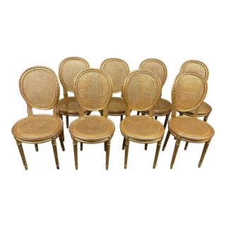 Mid 20th Century Gilt + Caned Dining Room Chairs, Set of Eight For Sale