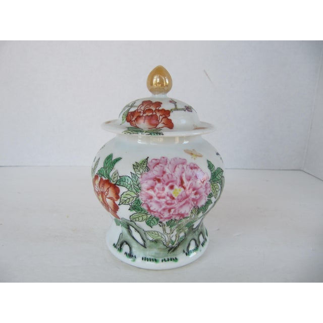 Vintage Chinoiserie Flower Ginger Jar For Sale - Image 4 of 4