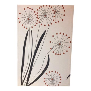 Mid Century Floral Design Screen Print on Canvas For Sale