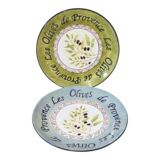 Late 20th Century Sakura Table Les Olives De Provence Plates - a Pair