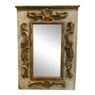 1900s Vintage Louis XVI Period Rectangular Carved and Gilded Wood Mirror For Sale