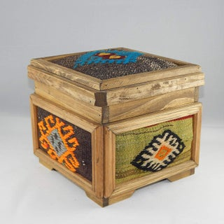 Tribal Kilim Chest, Handmade Wooden Unique Box, Gifts for Women, Jewellery Box, Decorative Storage, Tribal Turkish Decor Preview