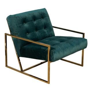 The Garbo Chair in Green Velvet For Sale